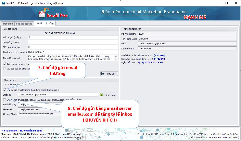 chọn chế độ gửi với email pro