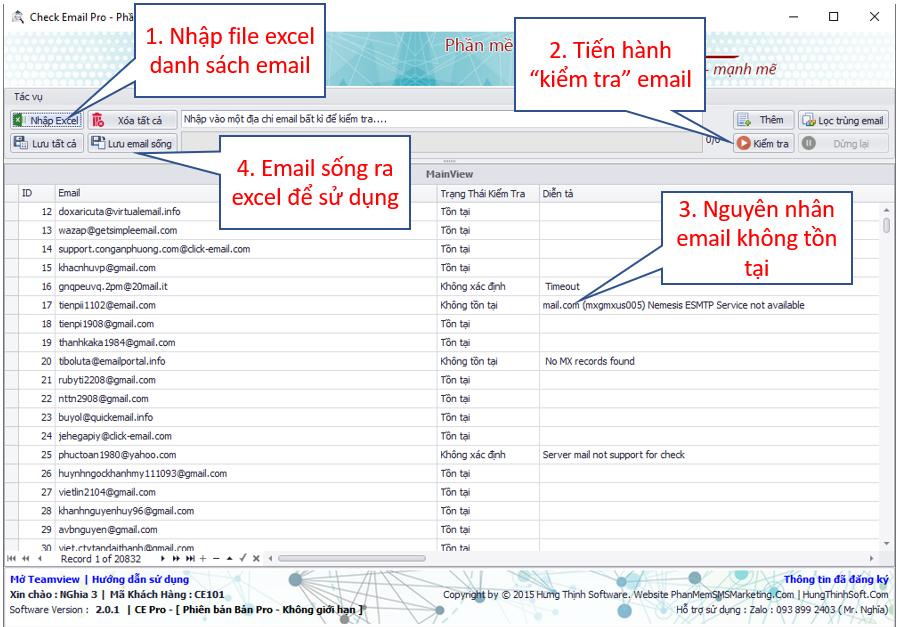 Sử dụng ce pro - phần mềm lọc email sống chết